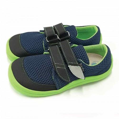 Детски боси обувки Beda mesh 2021 - Синьо/лайм